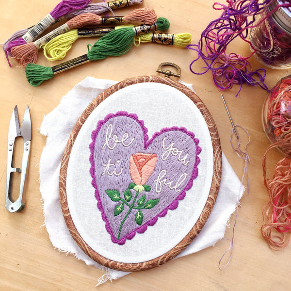 September 2018 Pattern: Be-YOU-tiful . PDF Hand Embroidery Pattern