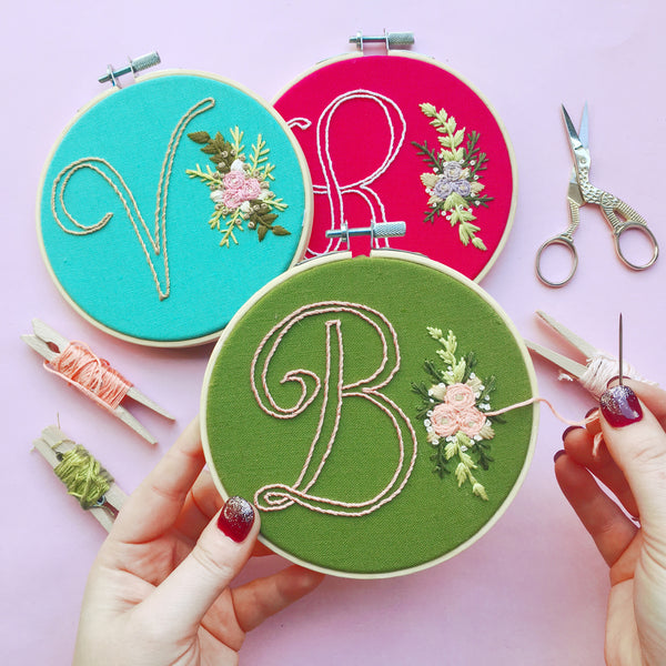 Monogram & Flowers . Hand Embroidery Kit (+PDF DOWNLOAD)