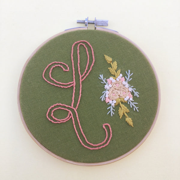 L Initial . Hand Embroidery Hoop