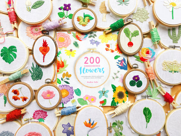 Signed Copy of 200 Embroidered Flowers by Kristen Gula