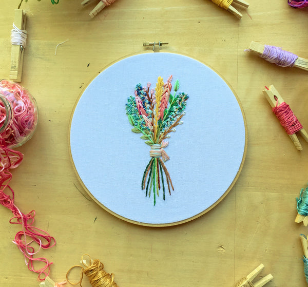 Colorful Bouquet . Hand Embroidery Hoop