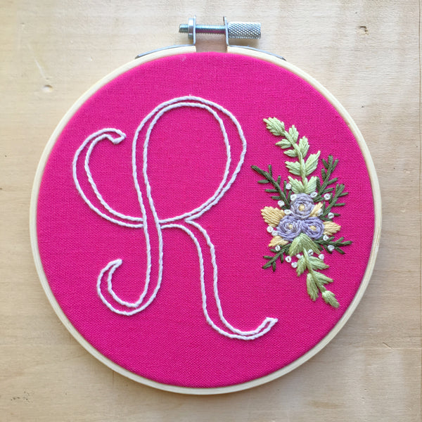 R Initial . Hand Embroidery Hoop