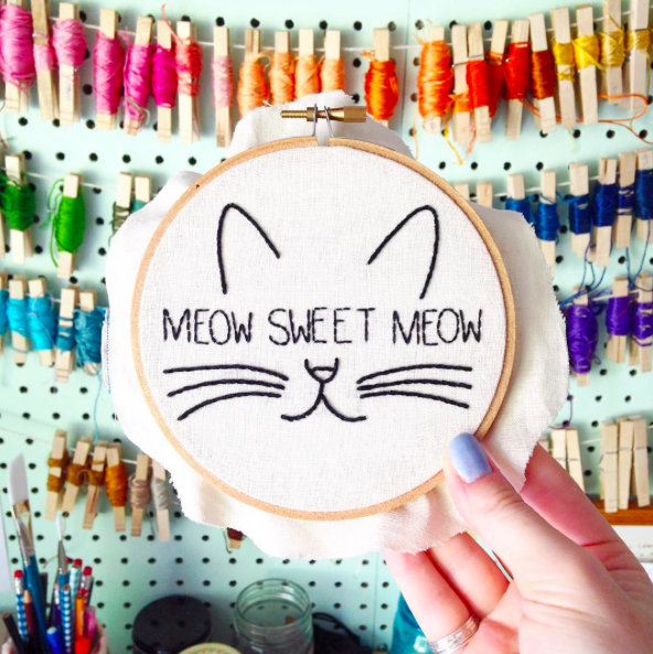 Meow Sweet Meow . Hand Embroidery Hoop