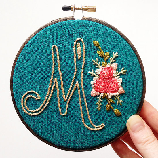 Initial & Flowers . Hand Embroidery