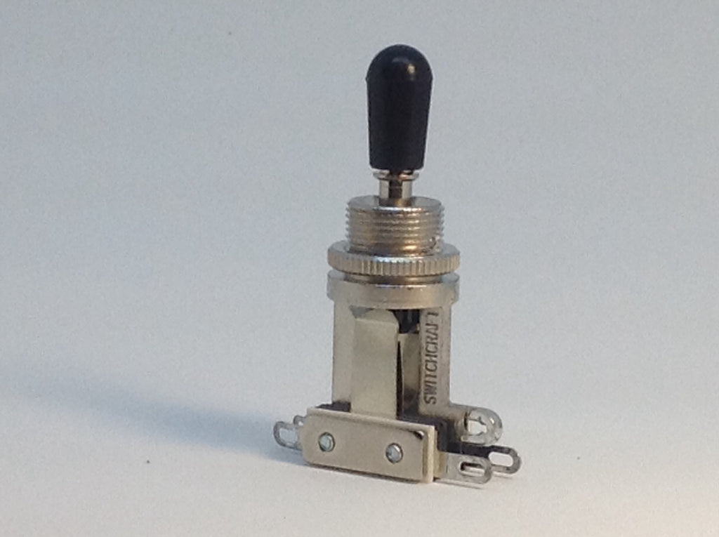 Switchcraft Short 3-way USA Toggle Switch for Les Paul Black Tip