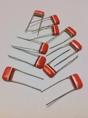 10 x NOS .033uf 250v Mullard Tropical Fish Capacitors Effects Pedal Guitar Parts