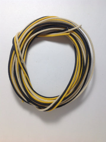 30 Ft. 22 awg Gavitt Pushback Pre Tinned Cloth Guitar Wire 22ga (10 Black / 10 White / 10 Yellow)
