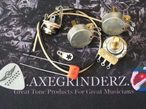 Custom Spec Wiring Kit For Jazz Bass CTS Pots .022uf Sprague Orange Drop