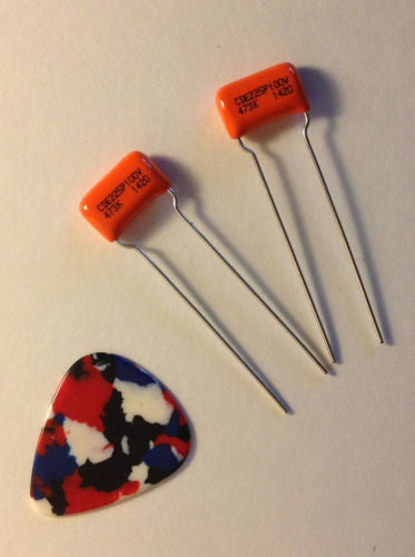 1 Pair .047uf 200v CDE/SBE ORANGE DROP 225P Film Foil Guitar Tone Capacitors