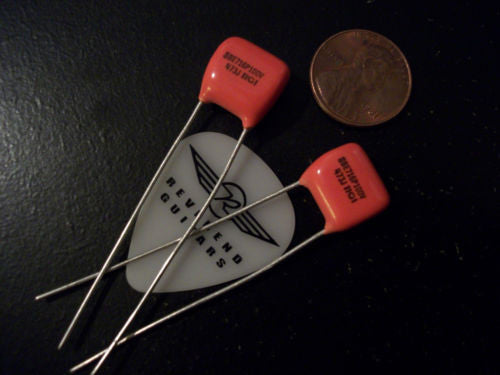 One Pair .047uf 100v Sprague ORANGE DROP Guitar or BassTone Capacitors Small