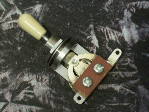 Import 3-way Toggle Switch  with Cream Tip New OEM Quality Part w/ Hex Nut