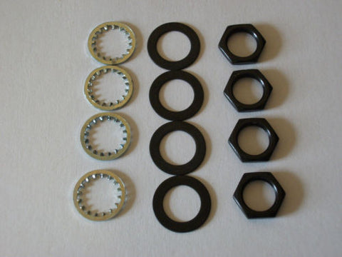 "4 sets US Thread 3/8"" x 32 Black Finish Potentiometer Nuts Trim Lock Washers"
