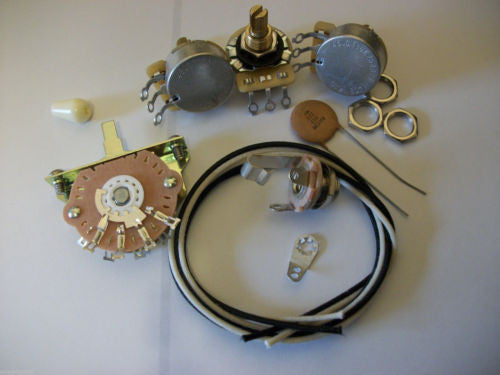 Wiring Kit For Stratocaster CTS Oak Switchcraft .02uf Tecate Ceramic Cap 1970's