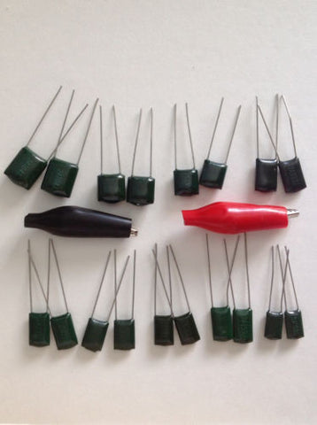 Guitar Tone Capacitor Value Test Set 2 each of 9 Values Plus Alligator Clips