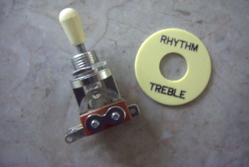 Import Metric Cream / Chrome 3-way Toggle Switch with Surronnd Guitar Parts