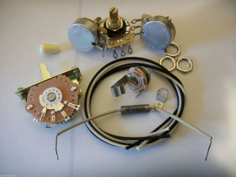 Wiring Kit For Stratocaster CTS Oak Switchcraft .022uf Sprague Mil Spec Paper In Oil Cap