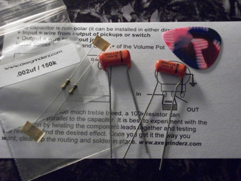 2 x Sprague ORANGE DROP Treble Bleed Kits .0022uf  150k for Humbucker Single Coil