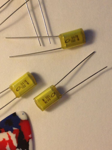 5x .047uf 100v 10% Tolerance Nichicon Radial Film Guitar Tone Upgrade Capacitors