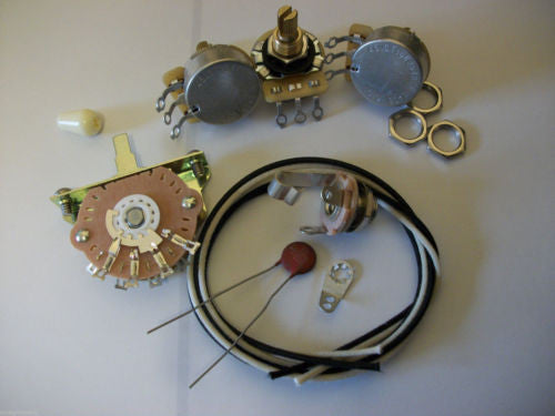 Wiring Kit For Stratocaster CTS Oak Switchcraft .05uf Erie Ceramic Cap 1960's