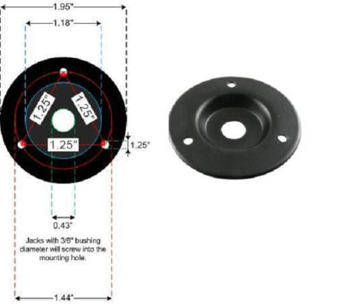 "Round Metal Speaker Jack Plate For Amplifier Cabinets 1/4"" Black Finish 2"" Dia"