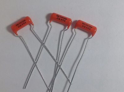 3x Genuine ORANGE DROP .012uf 200v SBE 715P Polypropylene Guitar Tone Capacitors