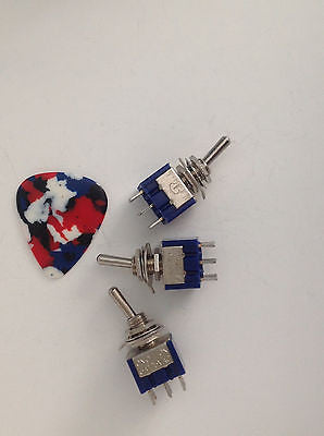 3 Pack New DPDT Mini Switches Guitar Parts Wiring Automotive ON-OFF-ON Coil Tap