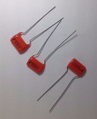 3 Pack NOS .01uf 200v 225P Sprague Black Line Orange Drop Tone Capacitors