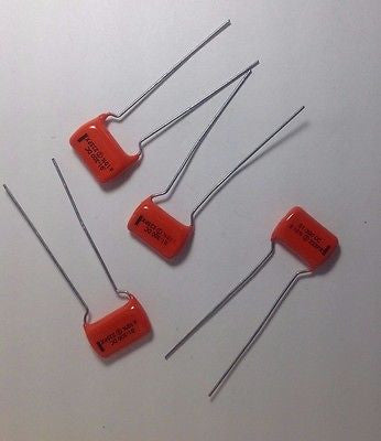 4 Pack NOS .01uf 200v 225P Sprague Black Line Orange Drop Tone Capacitors