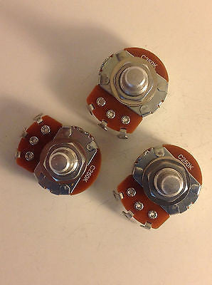 3x Alpha 250K Reverse Audio Potentiometers Solid Shaft US Spec Lefty Guitar Pots