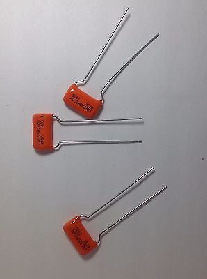 3 Pack .047uf 200v CDE/SBE ORANGE DROP 225P Film Foil Guitar Tone Capacitors
