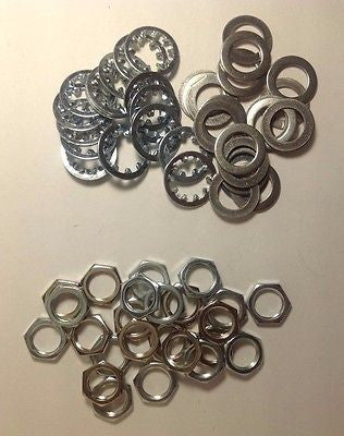 "24 sets US Thread 3/8"" x 32 Nickel Finish Potentiometer Nuts Trim Lock Washers"