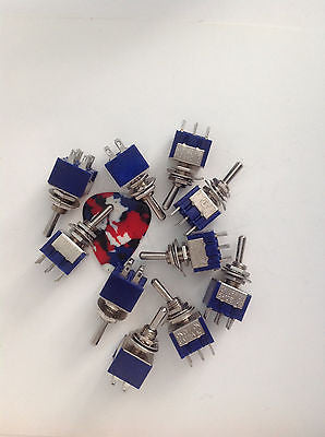 10 Pack New DPDT Mini Switches Guitar Parts Wiring Automotive ON-OFF-ON Coil Tap