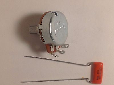 Alpha 250KA Solid Shaft US Spec Tone Potentiometer with .047 Orange Drop Cap