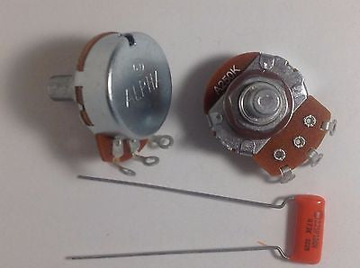 2 Alpha 250KA Solid Shaft US Spec Potentiometers with .047 Orange Drop 225P Cap