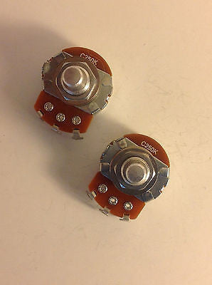 2x Alpha 250K Reverse Audio Potentiometers Solid Shaft US Spec Lefty Guitar Pots
