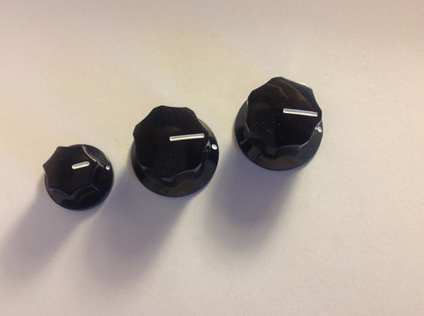 "Set of 3 US Spec 1/4"" Solid Shaft Set Screw Knobs for J Style Bass"