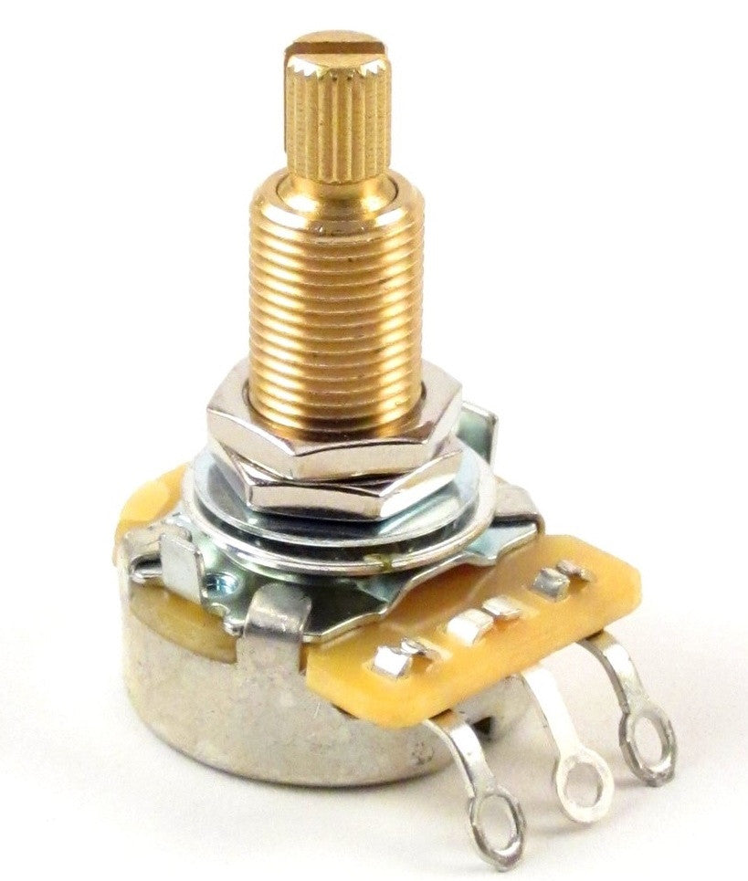 "Single CTS US Spec 1/4"" Split Knurled Shaft Fine Spline Guitar Potentiometers"