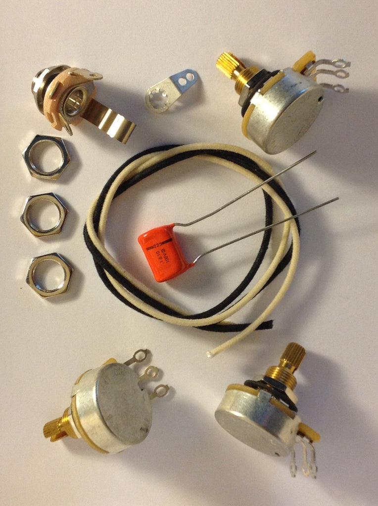 Wiring Harness Kit For J Bass CTS 500k 450G Knurled Pots .1uf 225P Orange Drop Cap
