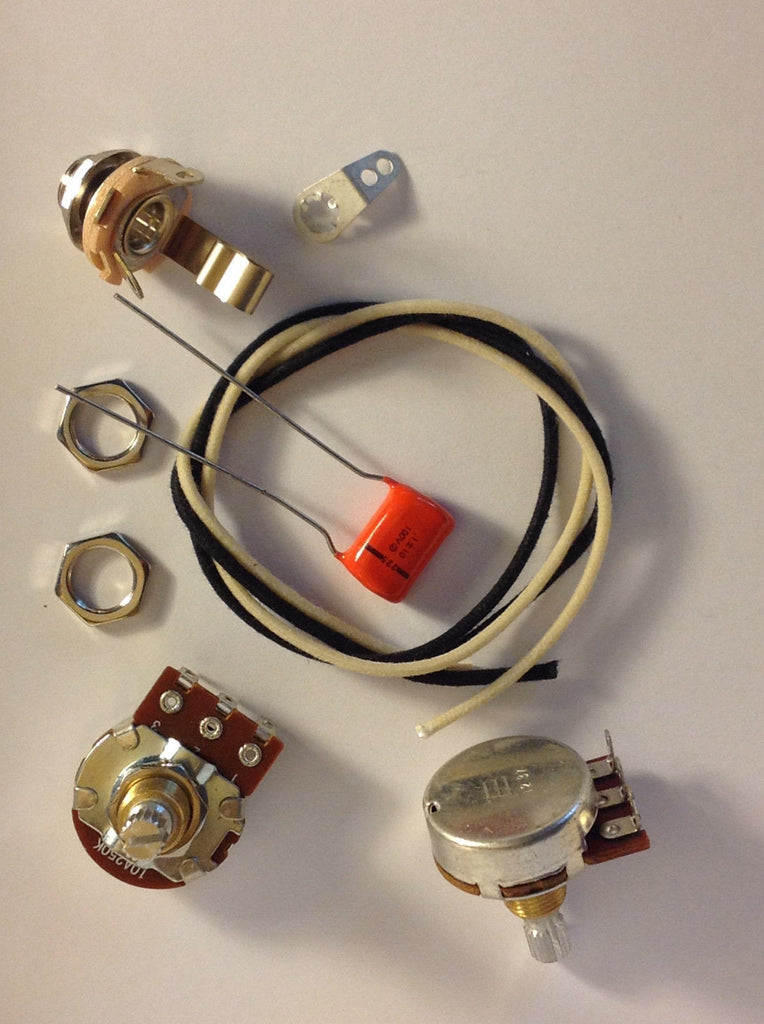 Wiring Harness Kit For P Bass Bourns 500k Knurled Pots NOS .1uf 225P Orange Drop Cap