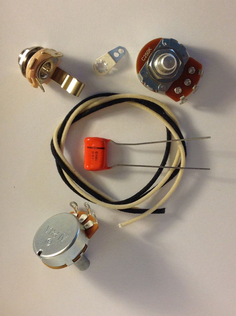 Lefty Wiring Harness Kit For P Bass US Spec Pots .1uf 225P NOS Orange Drop Cap