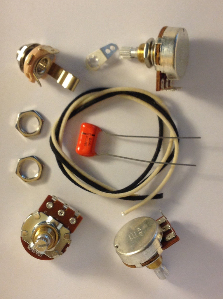 Wiring Harness Kit For J Bass Bourns Knurled Pots .033uf 225P Orange Drop Cap