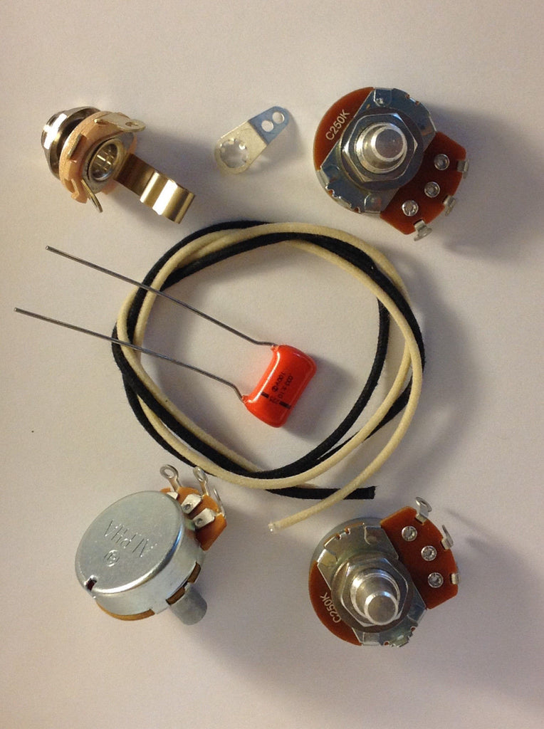 Lefty Wiring Harness Kit For J Bass US Spec Pots .033uf 225P Orange Drop Cap