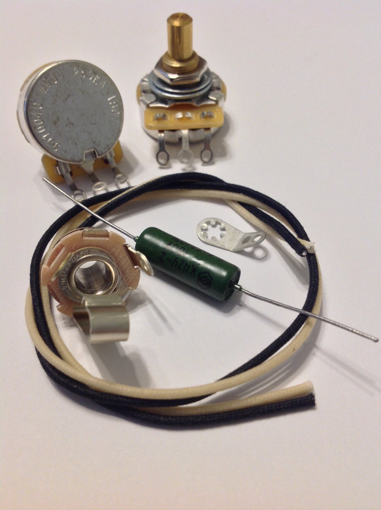 Custom Spec Wiring Kit for P Bass CTS Pots .1uf Soviet Paper In Oil Capacitor