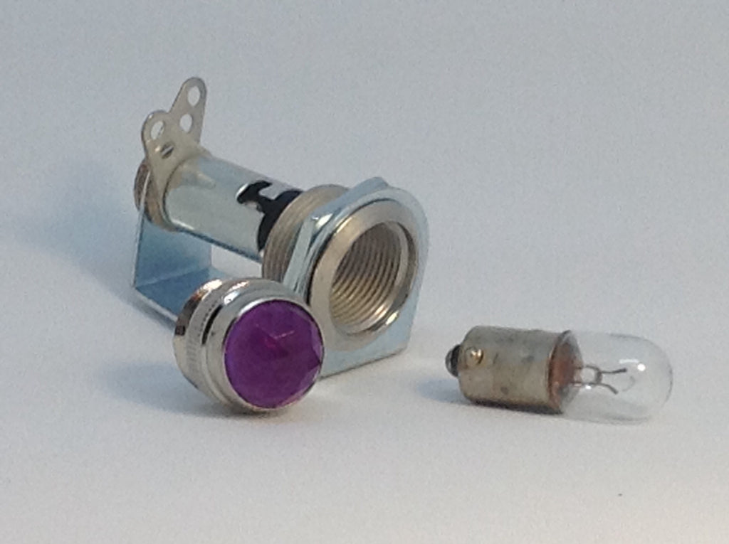 Tube Amp Pilot Light Assembly with Violet Jewel and Number 47 Bulb Made In USA