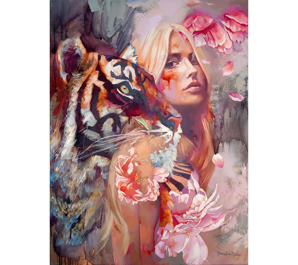 Interlaced features a portrait of a beautiful young woman and a tiger.