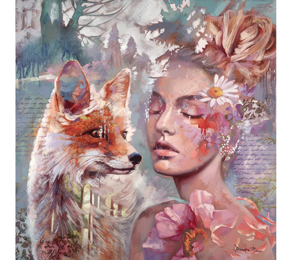 Love Starts New features a portrait of a serene young girl and a playful fox.