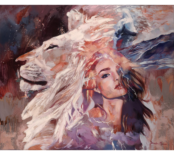 Quiet of the Whirlwind features a portrait of a young woman and a regal lion surrounded by an atmospheric storm.