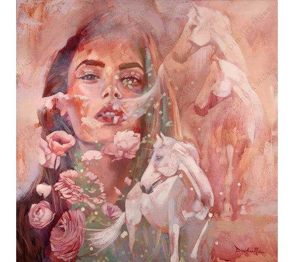 Transparent Dreams features a portrait of a young woman and several regal white horses.