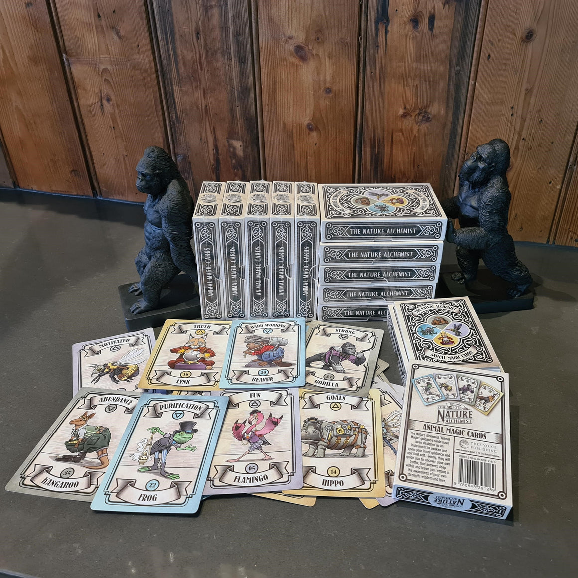 Steampunk 'Animal Magic' Guidance Cards - Pack of 20 (+1 Bonus deck and Gorilla bookends)