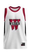 Load image into Gallery viewer, Weber High School: Adult Custom Basketball Fan Jersey - Rain (White)